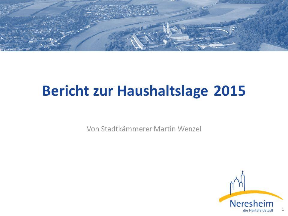 Bericht zur Haushaltslage 2015 Von Stadtkämmerer Martin Wenzel 1
