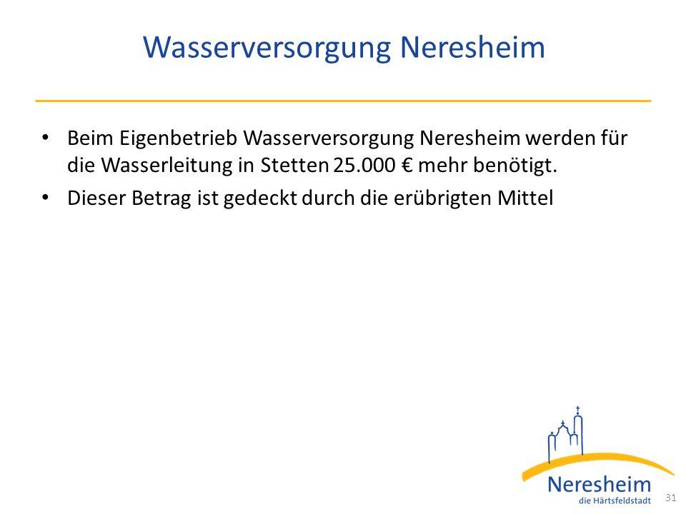Wasserversorgung Neresheim Beim Eigenbetrieb Wasserversorgung Neresheim werden für die Wasserleitung in Stetten 25.000 € mehr benötigt.