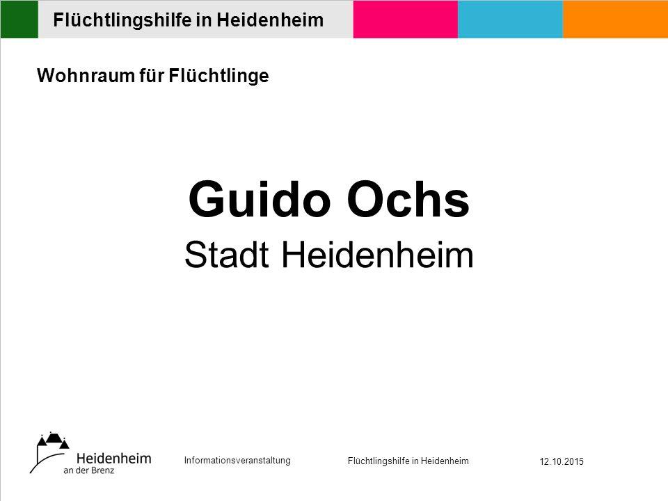 Informationsveranstaltung Flüchtlingshilfe in Heidenheim 12.10.2015 Flüchtlingshilfe in Heidenheim Wohnraum für Flüchtlinge Guido Ochs Stadt Heidenheim