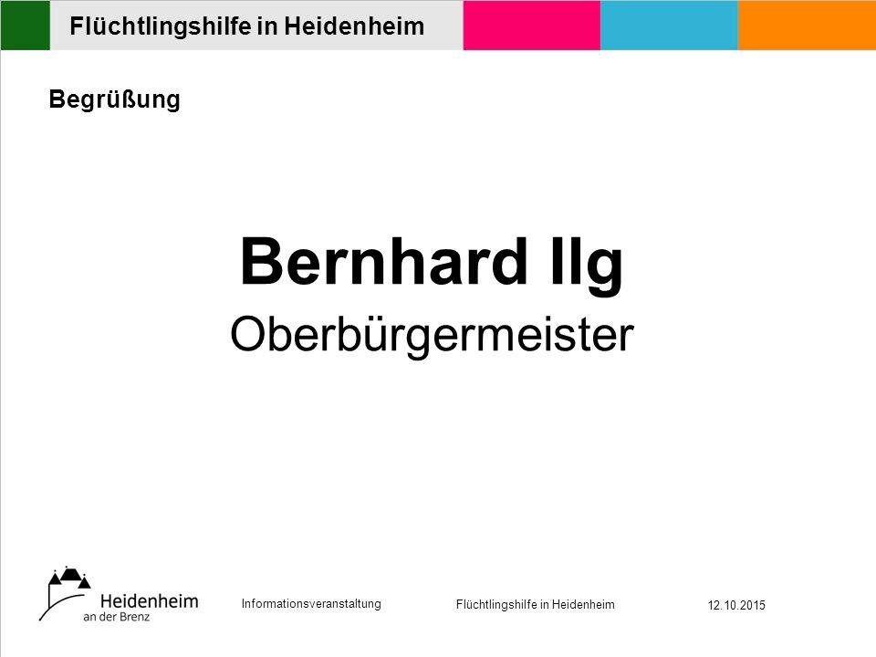Informationsveranstaltung Flüchtlingshilfe in Heidenheim 12.10.2015 Flüchtlingshilfe in Heidenheim Begrüßung Bernhard Ilg Oberbürgermeister