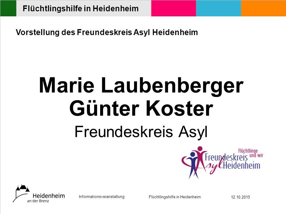Informationsveranstaltung Flüchtlingshilfe in Heidenheim 12.10.2015 Flüchtlingshilfe in Heidenheim Möbellogistik / Möbelspenden Wolfgang Lutz Arbeiterwohlfahrt Heidenheim (AWO)