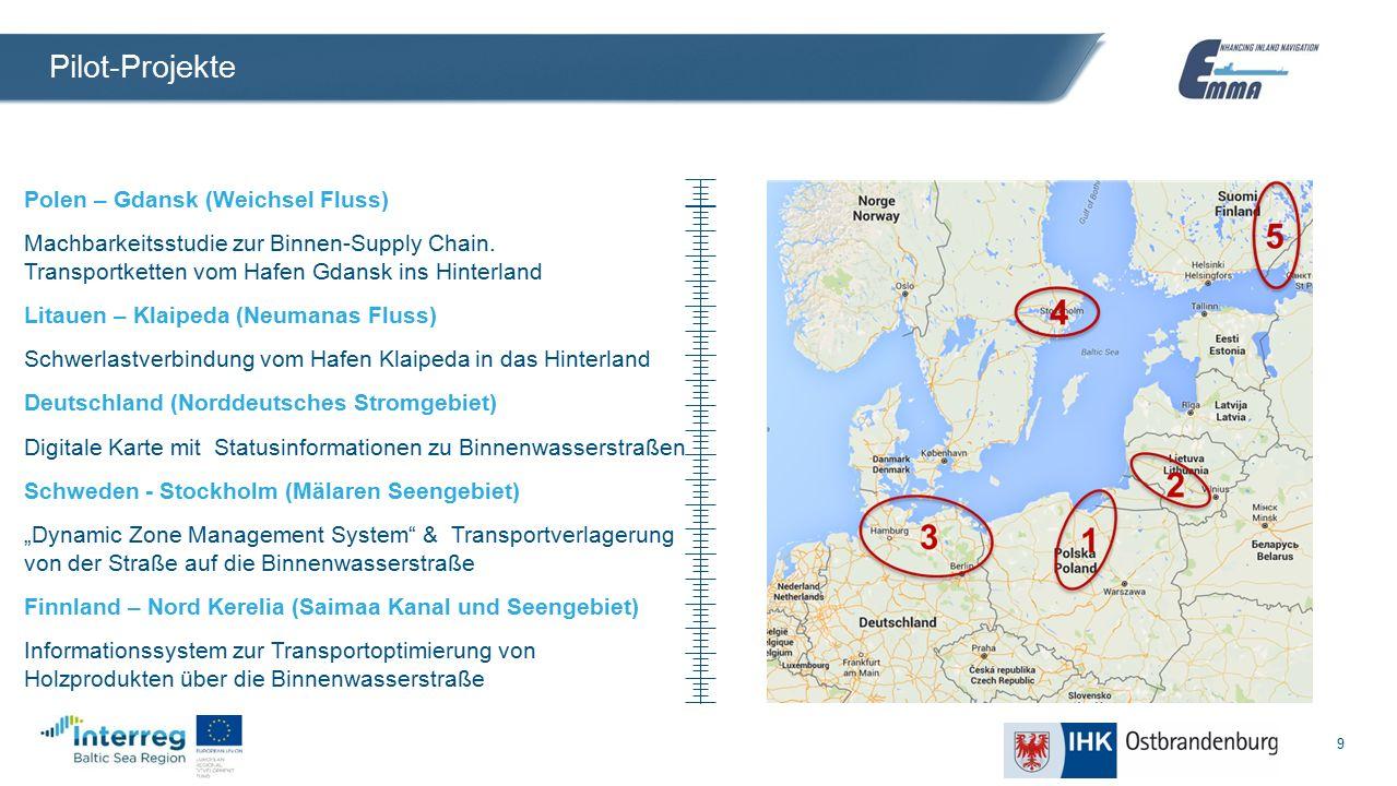 9 Pilot-Projekte Polen – Gdansk (Weichsel Fluss) Machbarkeitsstudie zur Binnen-Supply Chain.