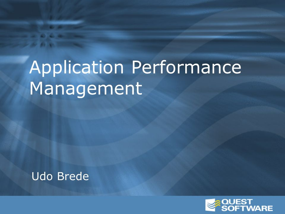 Application Performance Management Udo Brede