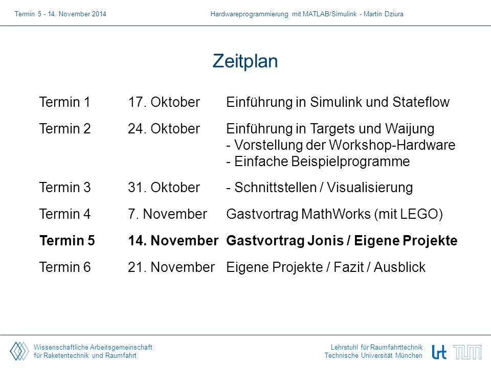 Wissenschaftliche Arbeitsgemeinschaft für Raketentechnik und Raumfahrt Lehrstuhl für Raumfahrttechnik Technische Universität München Zeitplan Termin 1