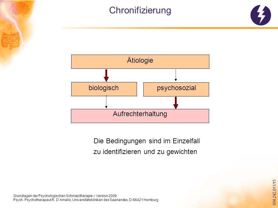 934.242,011/15 Chronifizierung Ätiologie psychosozialbiologisch Aufrechterhaltung Die Bedingungen sind im Einzelfall zu identifizieren und zu gewichten Grundlagen der Psychologischen Schmerztherapie – Version 2009 Psych.
