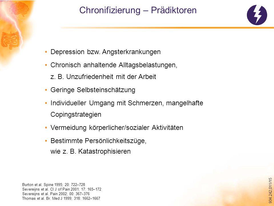 934.242,011/15 Chronifizierung – Prädiktoren Depression bzw.