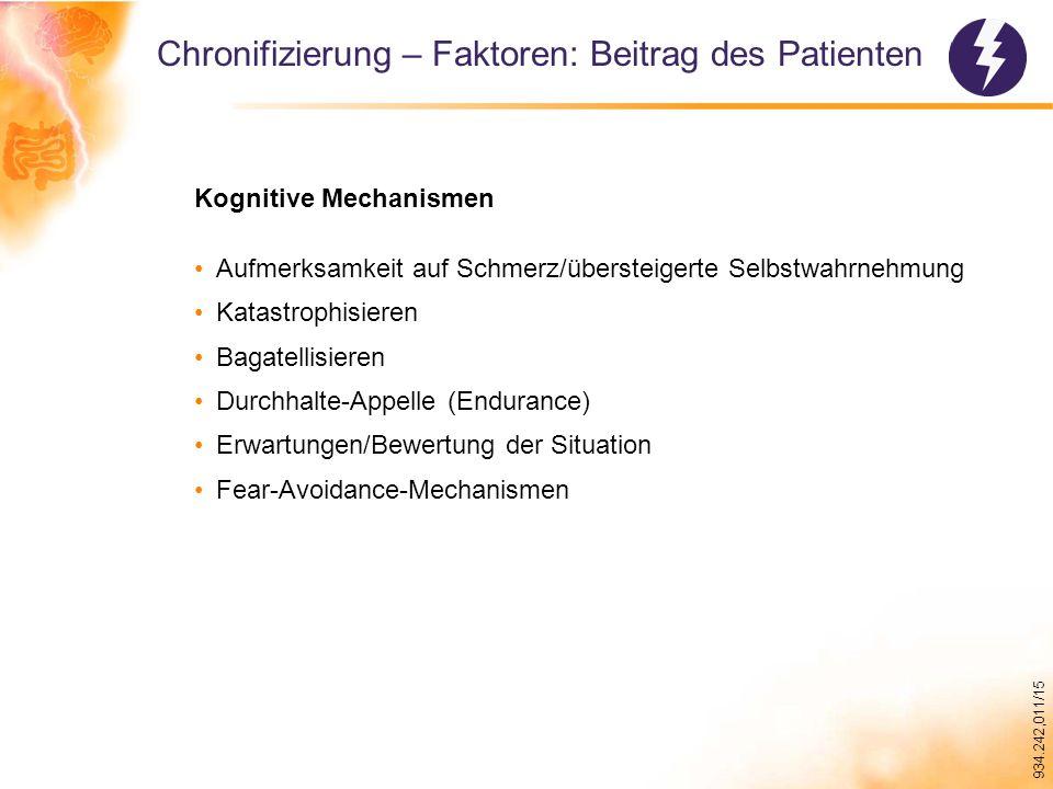 934.242,011/15 Chronifizierung – Faktoren: Beitrag des Patienten Kognitive Mechanismen Aufmerksamkeit auf Schmerz/übersteigerte Selbstwahrnehmung Katastrophisieren Bagatellisieren Durchhalte-Appelle (Endurance) Erwartungen/Bewertung der Situation Fear-Avoidance-Mechanismen