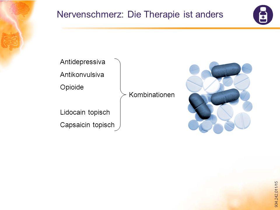 934.242,011/15 Nervenschmerz: Die Therapie ist anders Antidepressiva Antikonvulsiva Opioide Lidocain topisch Capsaicin topisch Kombinationen