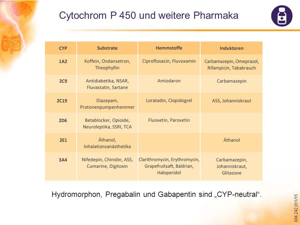 """934.242,011/15 Cytochrom P 450 und weitere Pharmaka Hydromorphon, Pregabalin und Gabapentin sind """"CYP-neutral ."""