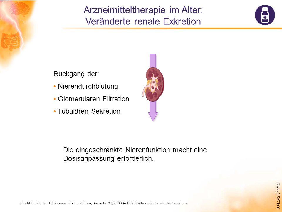 934.242,011/15 Arzneimitteltherapie im Alter: Veränderte renale Exkretion Rückgang der: Nierendurchblutung Glomerulären Filtration Tubulären Sekretion Die eingeschränkte Nierenfunktion macht eine Dosisanpassung erforderlich.