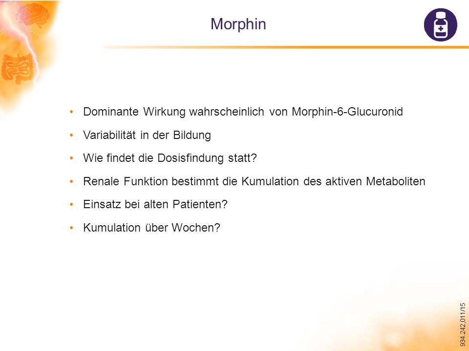 934.242,011/15 Morphin Dominante Wirkung wahrscheinlich von Morphin-6-Glucuronid Variabilität in der Bildung Wie findet die Dosisfindung statt.