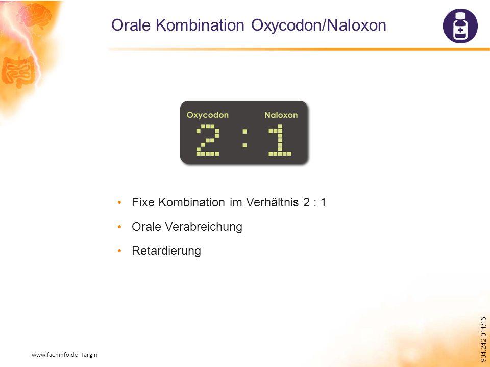 934.242,011/15 Orale Kombination Oxycodon/Naloxon Fixe Kombination im Verhältnis 2 : 1 Orale Verabreichung Retardierung www.fachinfo.de Targin
