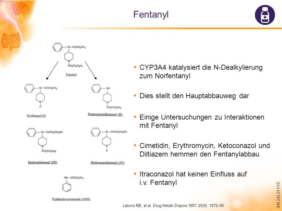 934.242,011/15 Fentanyl CYP3A4 katalysiert die N-Dealkylierung zum Norfentanyl Dies stellt den Hauptabbauweg dar Einige Untersuchungen zu Interaktionen mit Fentanyl Cimetidin, Erythromycin, Ketoconazol und Diltiazem hemmen den Fentanylabbau Itraconazol hat keinen Einfluss auf i.v.