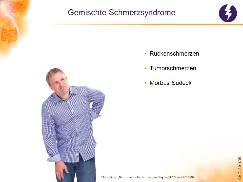 """934.242,011/15 Gemischte Schmerzsyndrome Rückenschmerzen Tumorschmerzen Morbus Sudeck S1-Leitlinie: """"Neuropathische Schmerzen Diagnostik Stand 2012/09"""