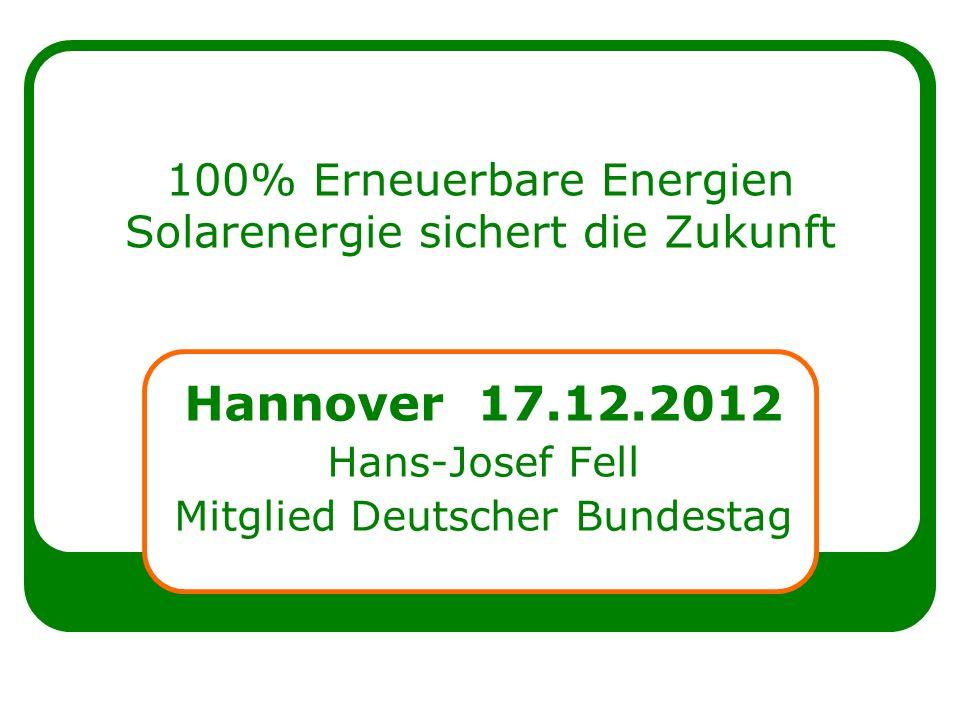 100% Erneuerbare Energien Solarenergie sichert die Zukunft Hannover 17.12.2012 Hans-Josef Fell Mitglied Deutscher Bundestag
