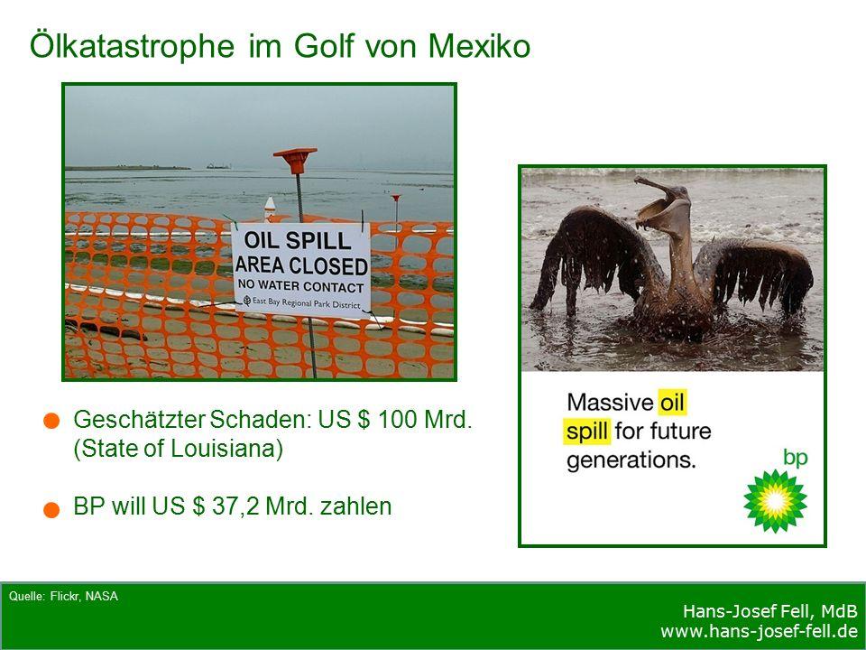 Hans-Josef Fell, MdB www.hans-josef-fell.de Quelle: Flickr, NASA Ölkatastrophe im Golf von Mexiko Geschätzter Schaden: US $ 100 Mrd.