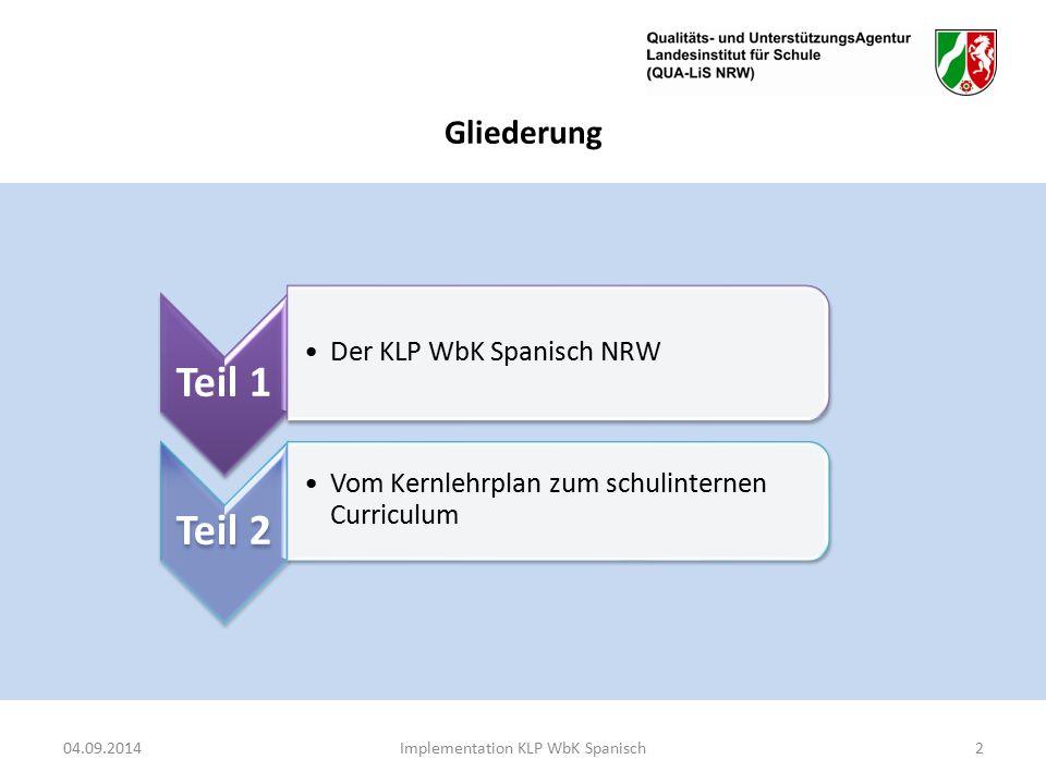 Gliederung Teil 1 Der KLP WbK Spanisch NRW Teil 2 Vom Kernlehrplan zum schulinternen Curriculum 04.09.2014Implementation KLP WbK Spanisch2