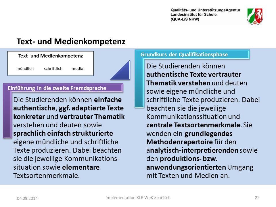 Text- und Medienkompetenz 04.09.2014 Implementation KLP WbK Spanisch22 Text- und Medienkompetenz mündlichschriftlichmedial Die Studierenden können einfache authentische, ggf.