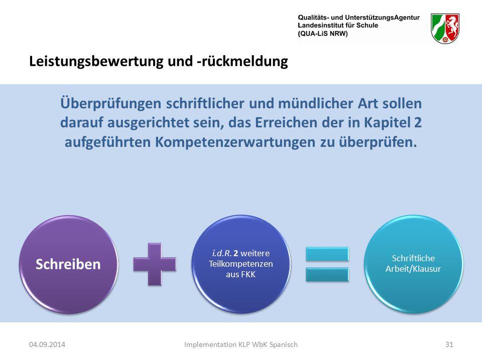 Leistungsbewertung und -rückmeldung 04.09.2014Implementation KLP WbK Spanisch31 Schreiben i.d.R.