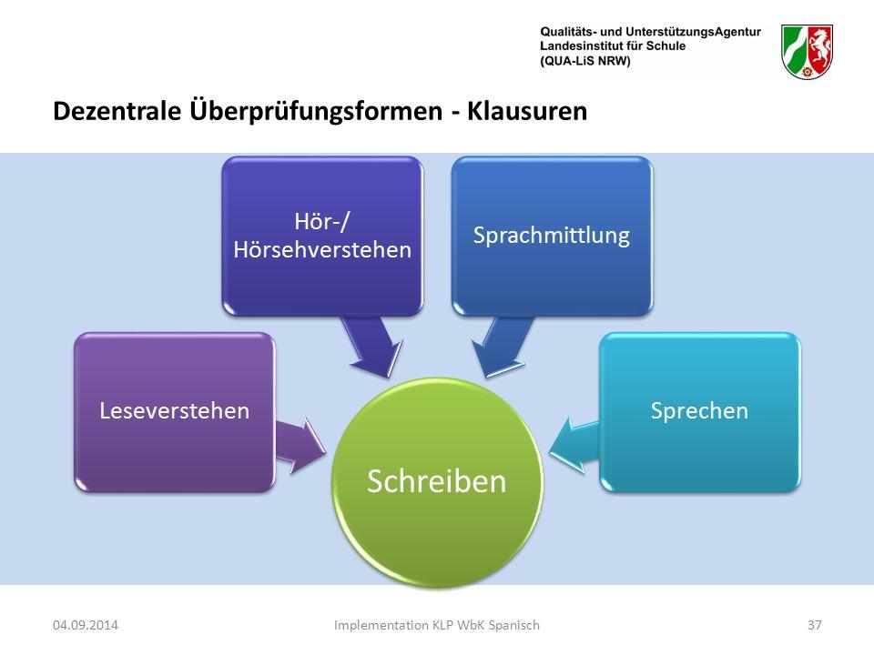 Dezentrale Überprüfungsformen - Klausuren 04.09.2014Implementation KLP WbK Spanisch37 Schreiben Leseverstehen Hör-/ Hörsehverstehen SprachmittlungSprechen