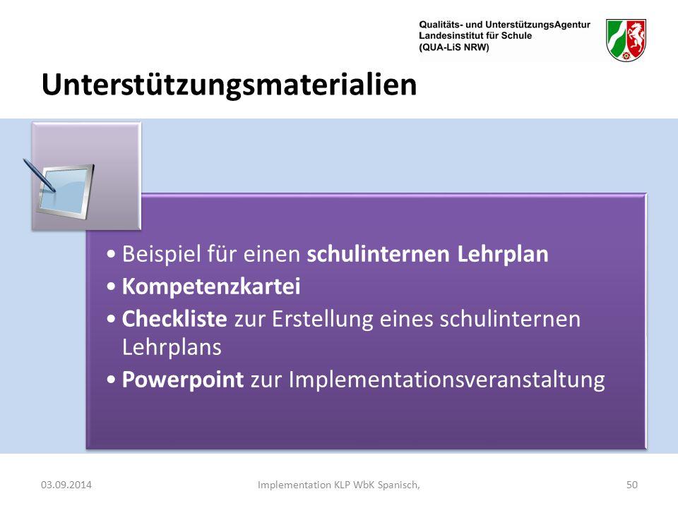 Unterstützungsmaterialien 03.09.2014Implementation KLP WbK Spanisch,50 Beispiel für einen schulinternen Lehrplan Kompetenzkartei Checkliste zur Erstellung eines schulinternen Lehrplans Powerpoint zur Implementationsveranstaltung