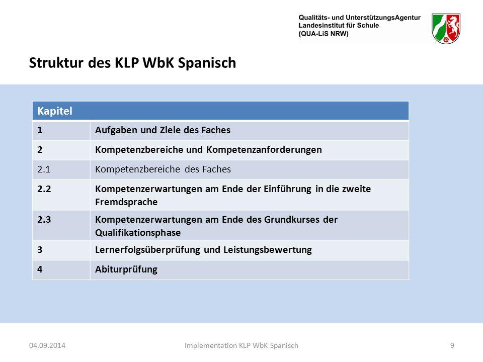 Struktur des KLP WbK Spanisch Kapitel 1Aufgaben und Ziele des Faches 2Kompetenzbereiche und Kompetenzanforderungen 2.1Kompetenzbereiche des Faches 2.2Kompetenzerwartungen am Ende der Einführung in die zweite Fremdsprache 2.3Kompetenzerwartungen am Ende des Grundkurses der Qualifikationsphase 3Lernerfolgsüberprüfung und Leistungsbewertung 4Abiturprüfung 04.09.2014Implementation KLP WbK Spanisch9