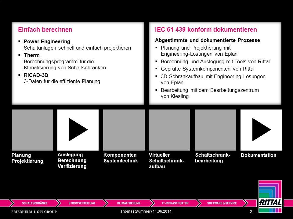 EN IEC 61439 gültig ab 1.11.2014 3 Dokumentation Schaltschrank- bearbeitung Virtueller Schaltschrank- aufbau Komponenten Systemtechnik Auslegung Berechnung Verifizierung Planung Projektierung  Für den Bauartnachweis sind eine Vielzahl von Nachweisen zu erbringen (Seite 3-5)  Rittal unterstützt Sie mit bereits durchgeführte Prüfungen für den Bauartnachweis  Geprüfte Systemkomponenten von Rittal Thomas Stummer / 14.06.2014