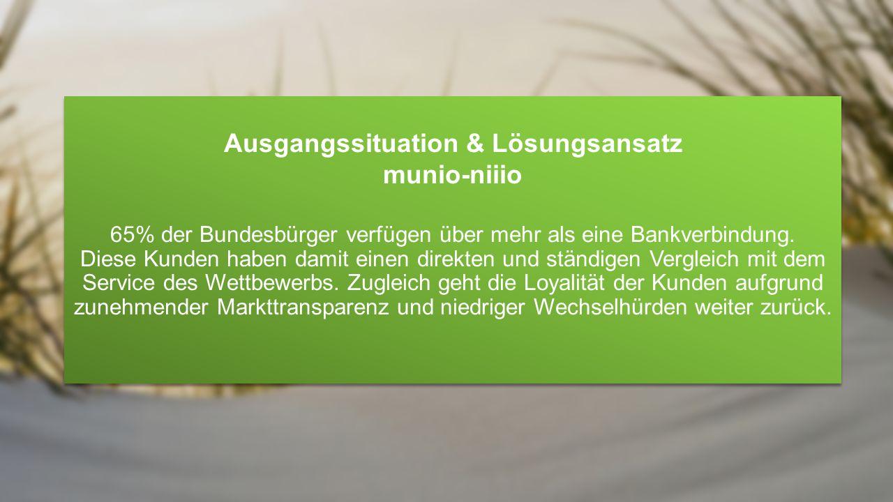 Ausgangssituation & Lösungsansatz munio-niiio Die Abbildung und Steuerung von Risiken über das gesamte Finanzportfolio eines Kunden ist sinnvoller als die getrennte Betrachtung separierter Bankverbindungen.