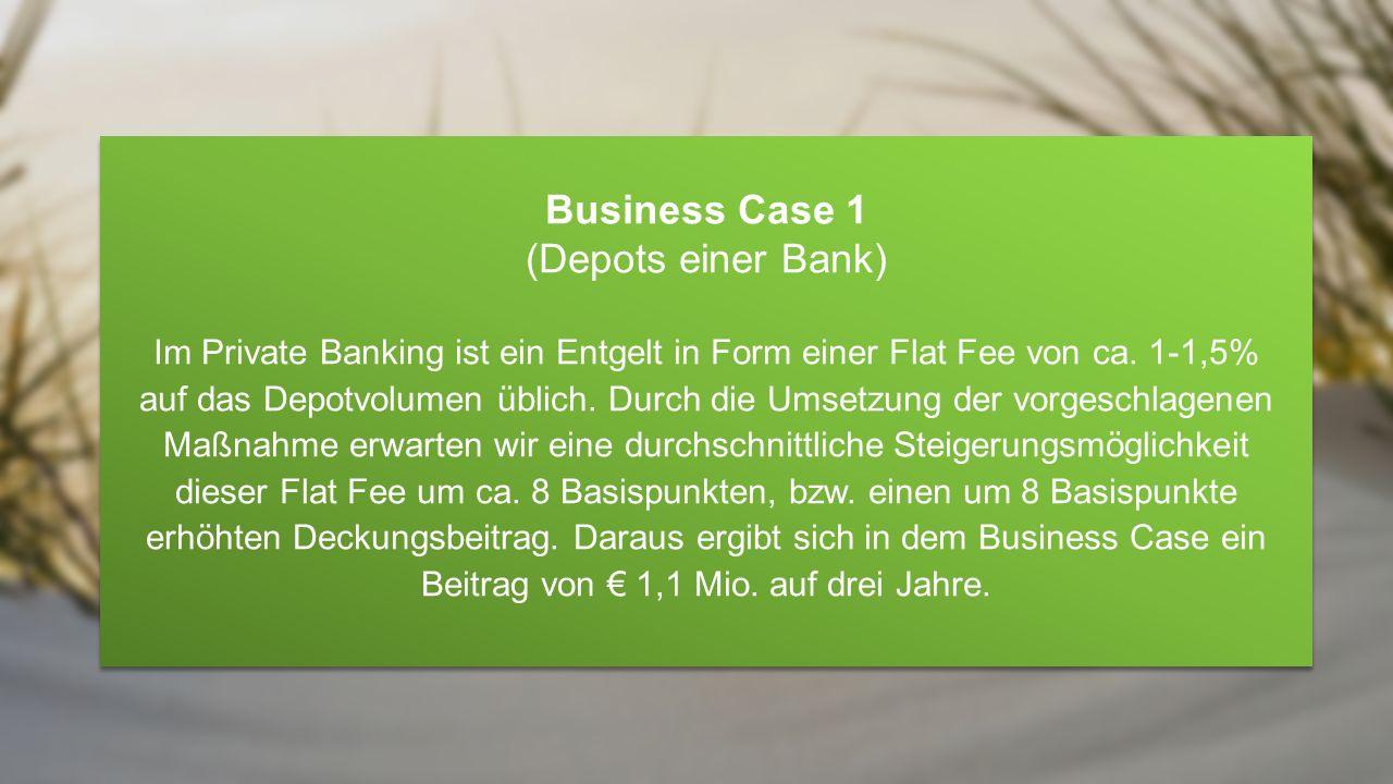 Bank Depotvolumen auf Bank-niiio € 1.200.000.000 Depotvolumen (€ 100.000 / Depot) Steigerung der Deckungsbeiträge im Private Banking Bank Depotvolumen auf Bank-niiio € 1.200.000.000 Depotvolumen (€ 100.000 / Depot) € 1,1 Mio.