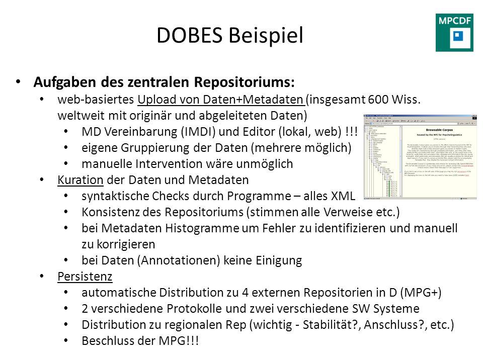 DOBES Beispiel Aufgaben des zentralen Repositoriums: web-basiertes Upload von Daten+Metadaten (insgesamt 600 Wiss. weltweit mit originär und abgeleite