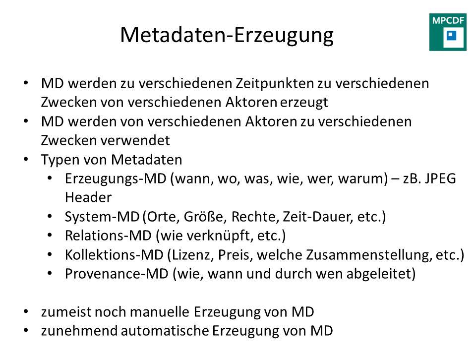 Metadaten-Erzeugung MD werden zu verschiedenen Zeitpunkten zu verschiedenen Zwecken von verschiedenen Aktoren erzeugt MD werden von verschiedenen Akto