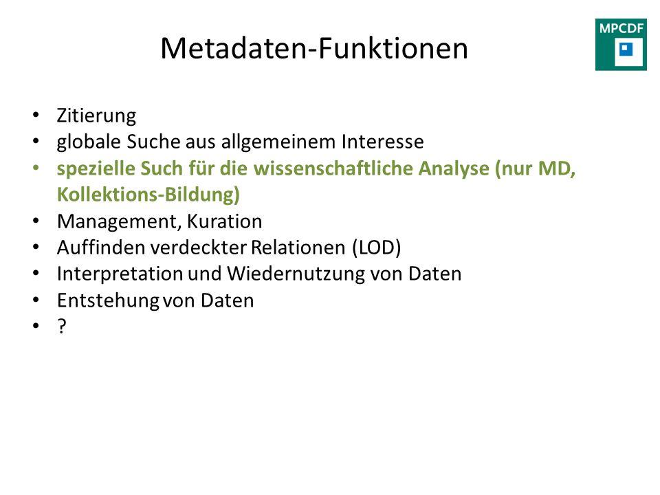 Metadaten-Funktionen Zitierung globale Suche aus allgemeinem Interesse spezielle Such für die wissenschaftliche Analyse (nur MD, Kollektions-Bildung)