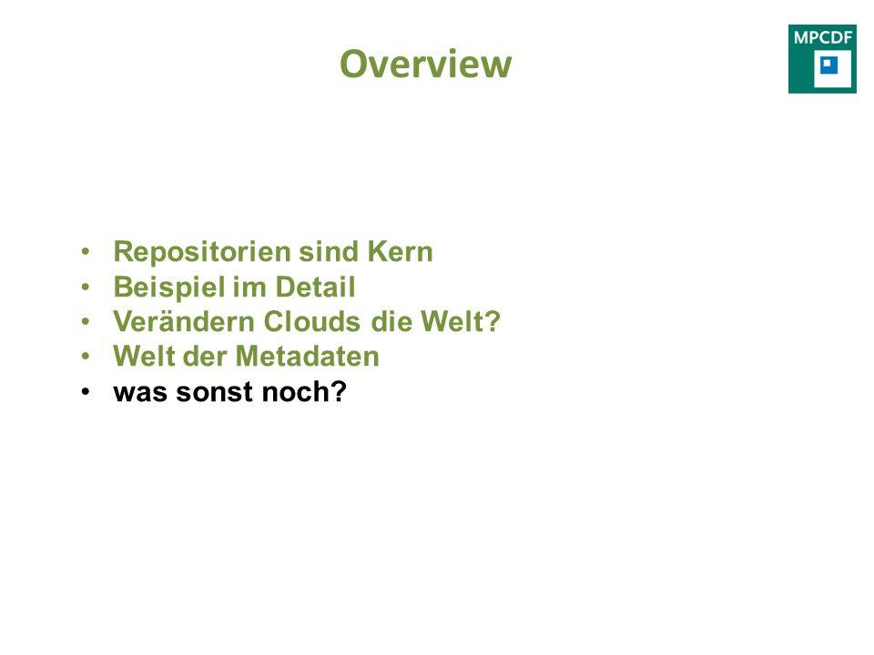 Overview Repositorien sind Kern Beispiel im Detail Verändern Clouds die Welt? Welt der Metadaten was sonst noch?