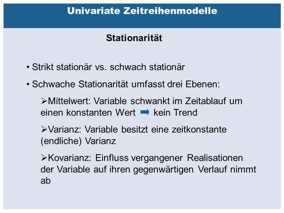 Außenhandelsbeziehungen zwischen China, USA, EU Univariate Zeitreihenmodelle Stationarität Strikt stationär vs.