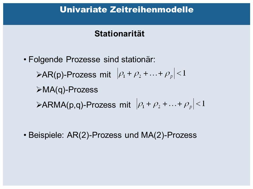 Außenhandelsbeziehungen zwischen China, USA, EU Univariate Zeitreihenmodelle Stationarität Folgende Prozesse sind stationär:  AR(p)-Prozess mit  MA(q)-Prozess  ARMA(p,q)-Prozess mit Beispiele: AR(2)-Prozess und MA(2)-Prozess