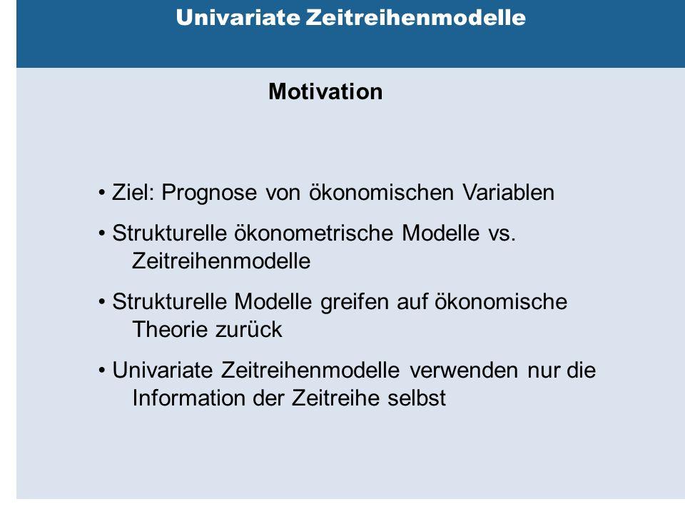 Außenhandelsbeziehungen zwischen China, USA, EU Univariate Zeitreihenmodelle Motivation Ziel: Prognose von ökonomischen Variablen Strukturelle ökonometrische Modelle vs.