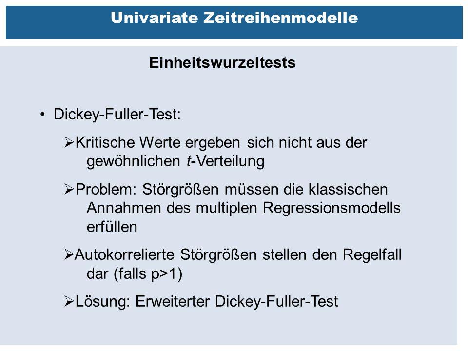 Außenhandelsbeziehungen zwischen China, USA, EU Univariate Zeitreihenmodelle Einheitswurzeltests Dickey-Fuller-Test:  Kritische Werte ergeben sich nicht aus der gewöhnlichen t-Verteilung  Problem: Störgrößen müssen die klassischen Annahmen des multiplen Regressionsmodells erfüllen  Autokorrelierte Störgrößen stellen den Regelfall dar (falls p>1)  Lösung: Erweiterter Dickey-Fuller-Test