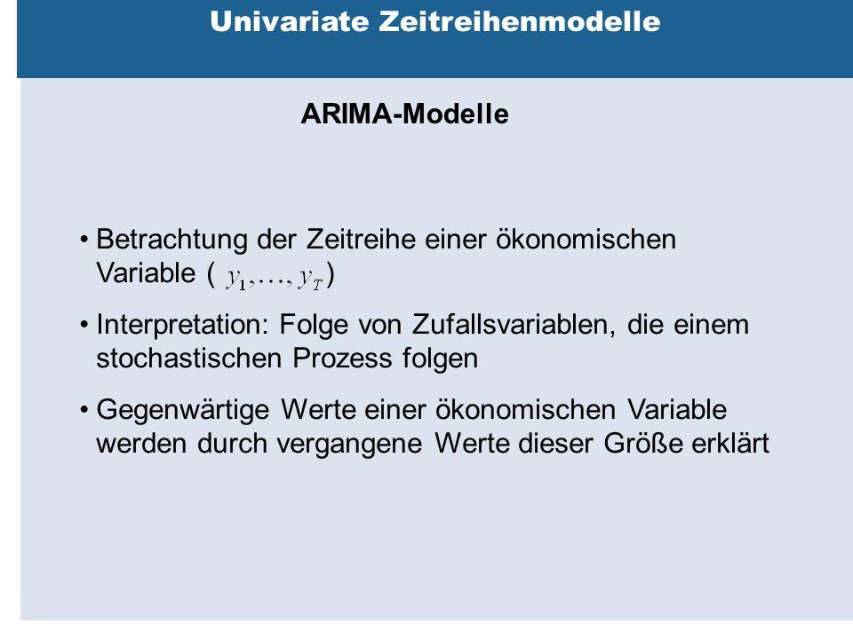 Außenhandelsbeziehungen zwischen China, USA, EU Univariate Zeitreihenmodelle ARIMA-Modelle Betrachtung der Zeitreihe einer ökonomischen Variable ( ) Interpretation: Folge von Zufallsvariablen, die einem stochastischen Prozess folgen Gegenwärtige Werte einer ökonomischen Variable werden durch vergangene Werte dieser Größe erklärt