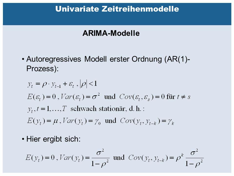Außenhandelsbeziehungen zwischen China, USA, EU Univariate Zeitreihenmodelle ARIMA-Modelle Autoregressives Modell erster Ordnung (AR(1)- Prozess): Hier ergibt sich: