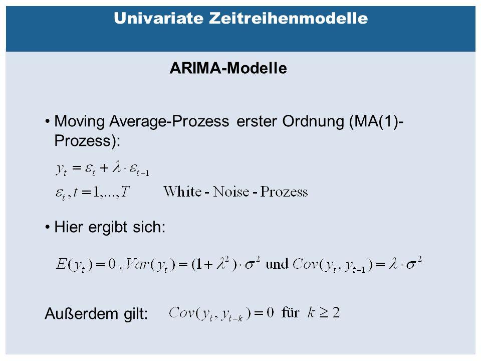 Außenhandelsbeziehungen zwischen China, USA, EU Univariate Zeitreihenmodelle ARIMA-Modelle Moving Average-Prozess erster Ordnung (MA(1)- Prozess): Hier ergibt sich: Außerdem gilt: