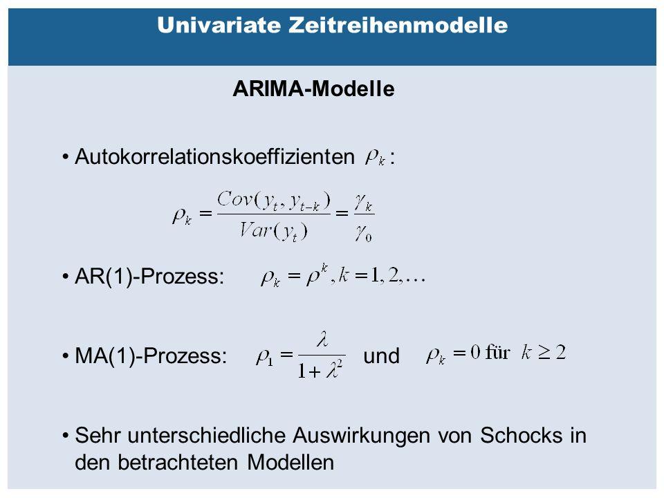 Außenhandelsbeziehungen zwischen China, USA, EU Univariate Zeitreihenmodelle ARIMA-Modelle Autokorrelationskoeffizienten : AR(1)-Prozess: MA(1)-Prozess: und Sehr unterschiedliche Auswirkungen von Schocks in den betrachteten Modellen