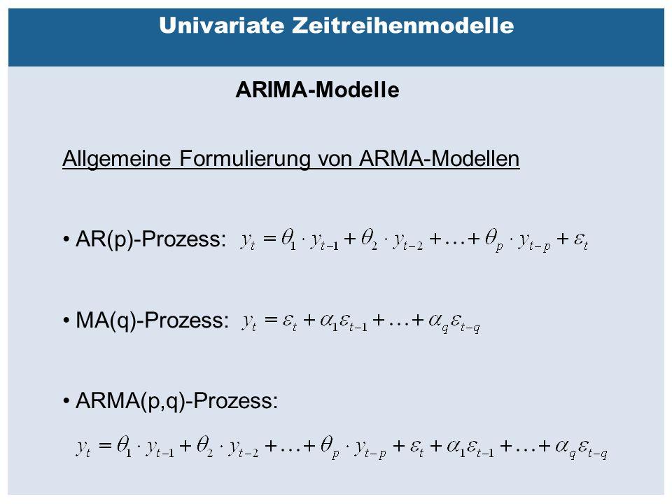 Außenhandelsbeziehungen zwischen China, USA, EU Univariate Zeitreihenmodelle ARIMA-Modelle Allgemeine Formulierung von ARMA-Modellen AR(p)-Prozess: MA(q)-Prozess: ARMA(p,q)-Prozess: