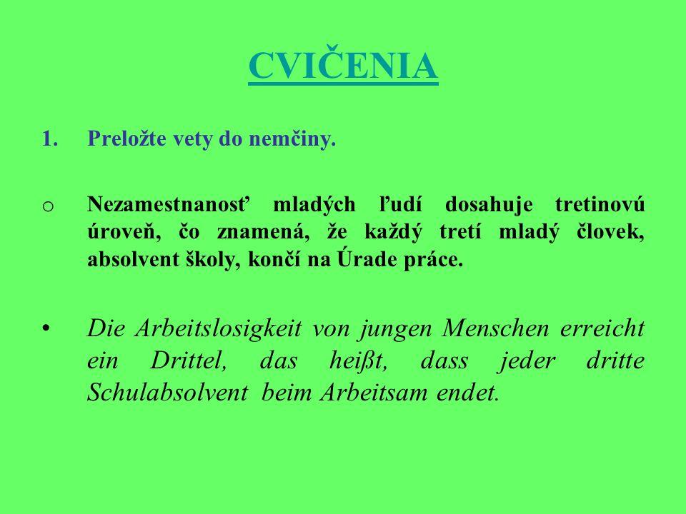 CVIČENIA 1.Preložte vety do nemčiny.
