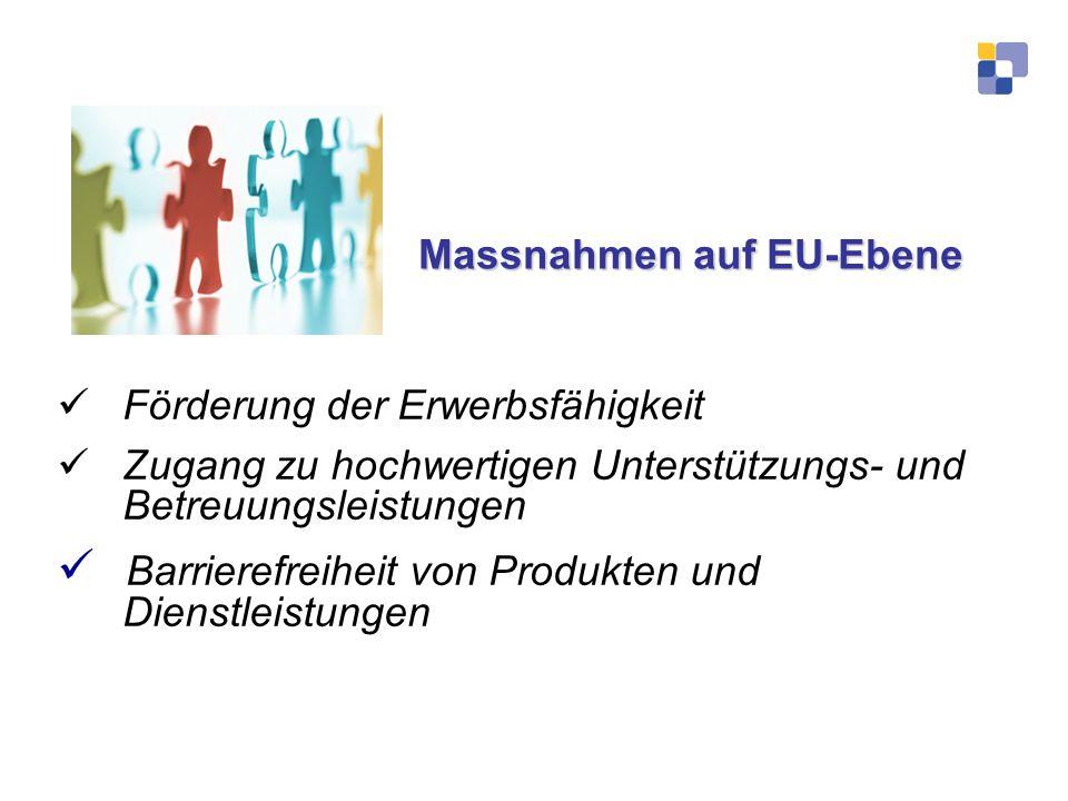 Massnahmen auf EU-Ebene Massnahmen auf EU-Ebene Förderung der Erwerbsfähigkeit Zugang zu hochwertigen Unterstützungs- und Betreuungsleistungen Barrier