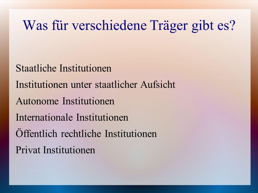 Staatliche Institutionen Institutionen unter staatlicher Aufsicht Autonome Institutionen Internationale Institutionen Öffentlich rechtliche Institutio