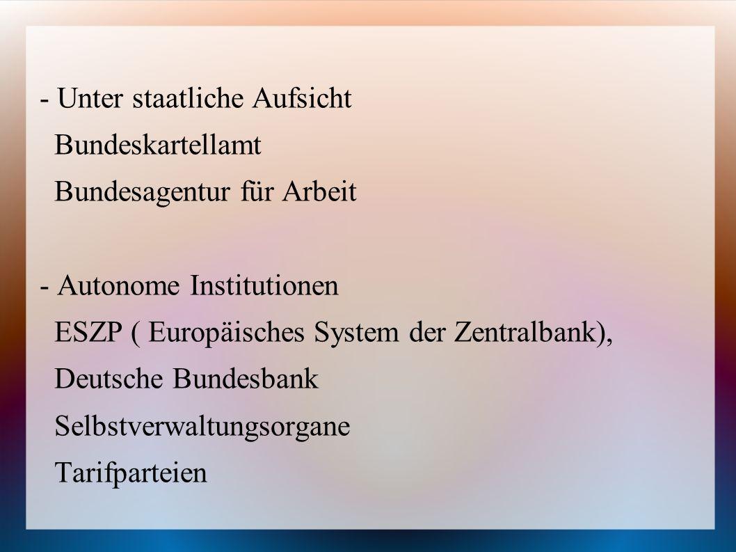 - Unter staatliche Aufsicht Bundeskartellamt Bundesagentur für Arbeit - Autonome Institutionen ESZP ( Europäisches System der Zentralbank), Deutsche B