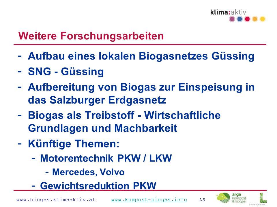 www.biogas.klimaaktiv.at www.kompost-biogas.info 15www.kompost-biogas.info Weitere Forschungsarbeiten - Aufbau eines lokalen Biogasnetzes Güssing - SNG - Güssing - Aufbereitung von Biogas zur Einspeisung in das Salzburger Erdgasnetz - Biogas als Treibstoff - Wirtschaftliche Grundlagen und Machbarkeit - Künftige Themen: - Motorentechnik PKW / LKW - Mercedes, Volvo - Gewichtsreduktion PKW