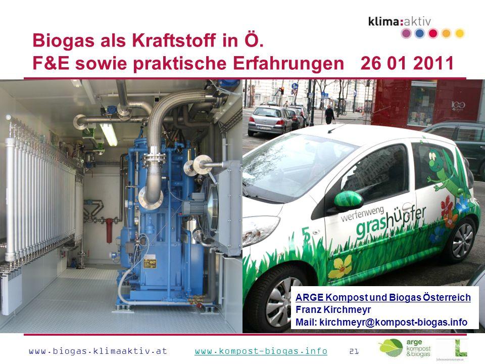 www.biogas.klimaaktiv.at www.kompost-biogas.info 21www.kompost-biogas.info Biogas als Kraftstoff in Ö.
