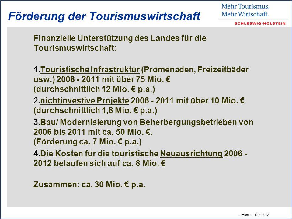 Förderung der Tourismuswirtschaft Finanzielle Unterstützung des Landes für die Tourismuswirtschaft: 1.Touristische Infrastruktur (Promenaden, Freizeitbäder usw.) 2006 - 2011 mit über 75 Mio.