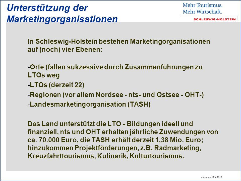 Unterstützung der Marketingorganisationen In Schleswig-Holstein bestehen Marketingorganisationen auf (noch) vier Ebenen: -Orte (fallen sukzessive durch Zusammenführungen zu LTOs weg -LTOs (derzeit 22) -Regionen (vor allem Nordsee - nts- und Ostsee - OHT-) -Landesmarketingorganisation (TASH) Das Land unterstützt die LTO - Bildungen ideell und finanziell, nts und OHT erhalten jährliche Zuwendungen von ca.